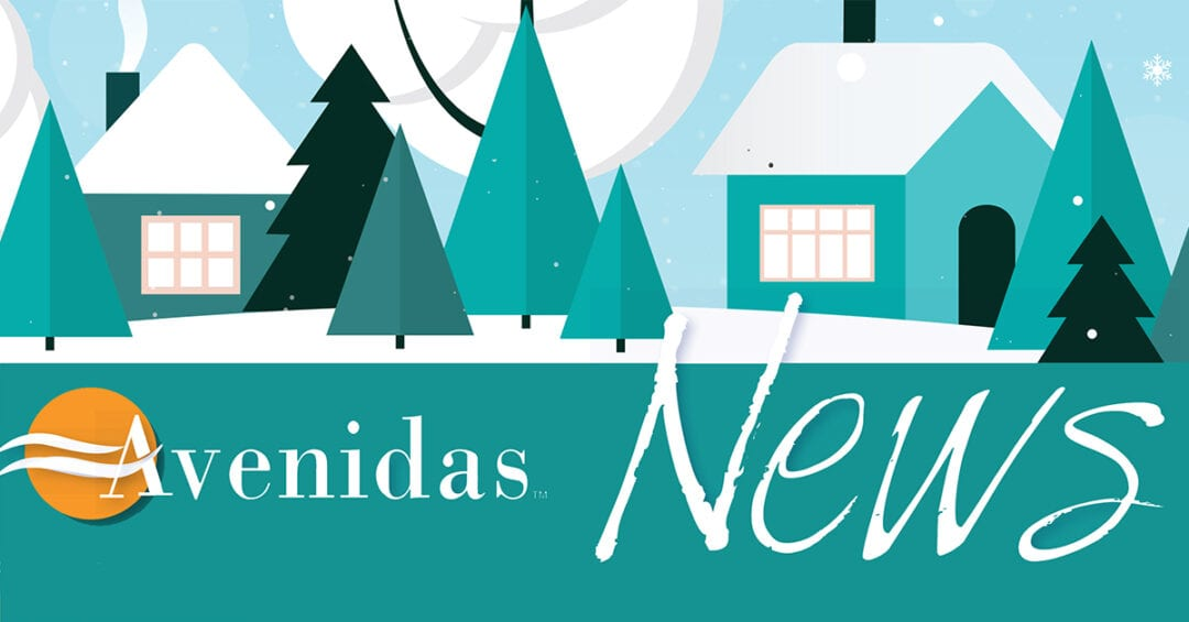 illustration for Avenidas News Winter 2018-19: conifers and houses in the snow