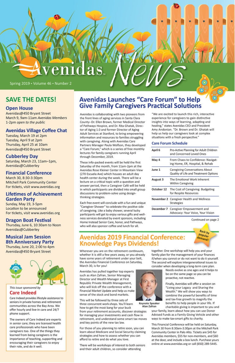 first page of Avenidas News Spring 2019
