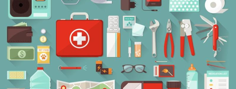illustration of tools for an emergency preparedness kit