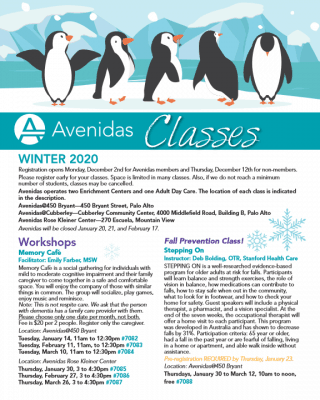 Winter 2020 Class Schedule cover