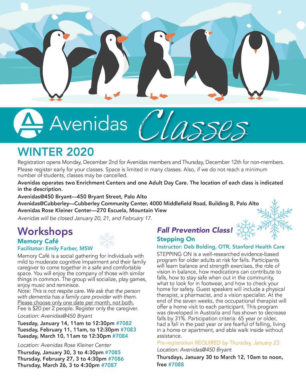 Cover of Avenidas Winter 2020 Class insert PDF