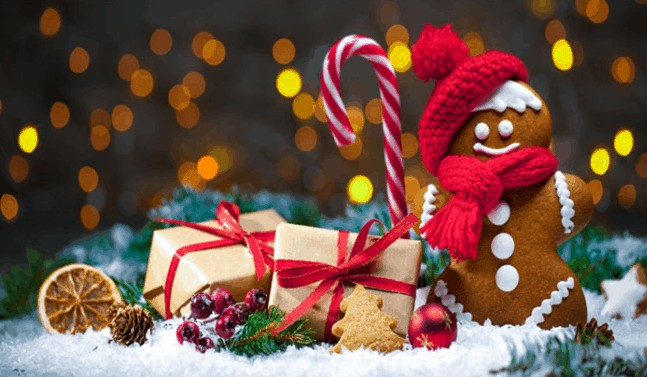 Christmas stock photo including candy cane and gingerbread man