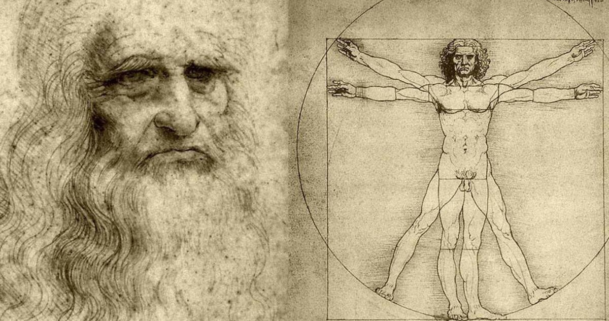 Leonardo Da Vinci self-portrait and Vitruvian Man