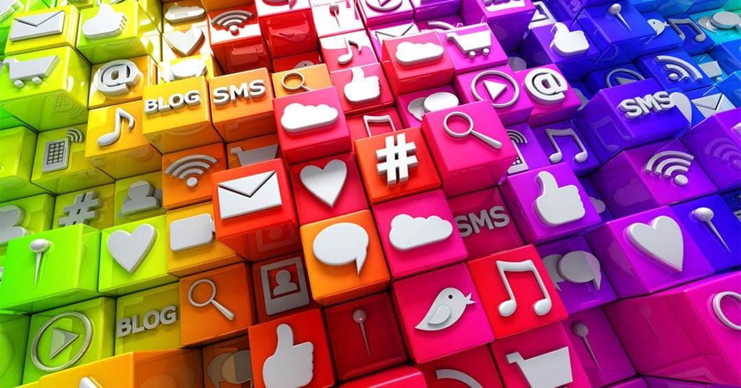 Social media icons displayed as colorful plastic tiles