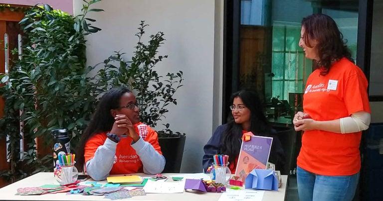 Student volunteers with Erika Thomas at the Avenidas 50th Birthday Bash