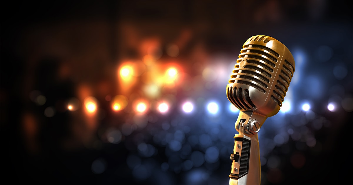 retro vocalist's microphone with stage lights