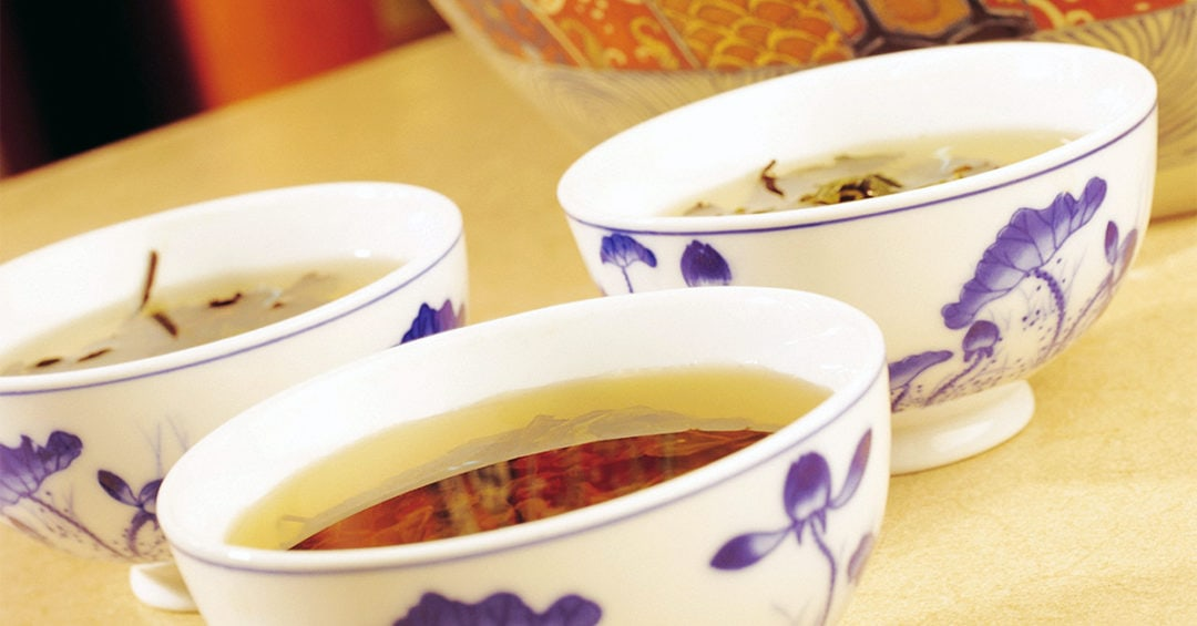 detail of Chinese tea in porcelain cups