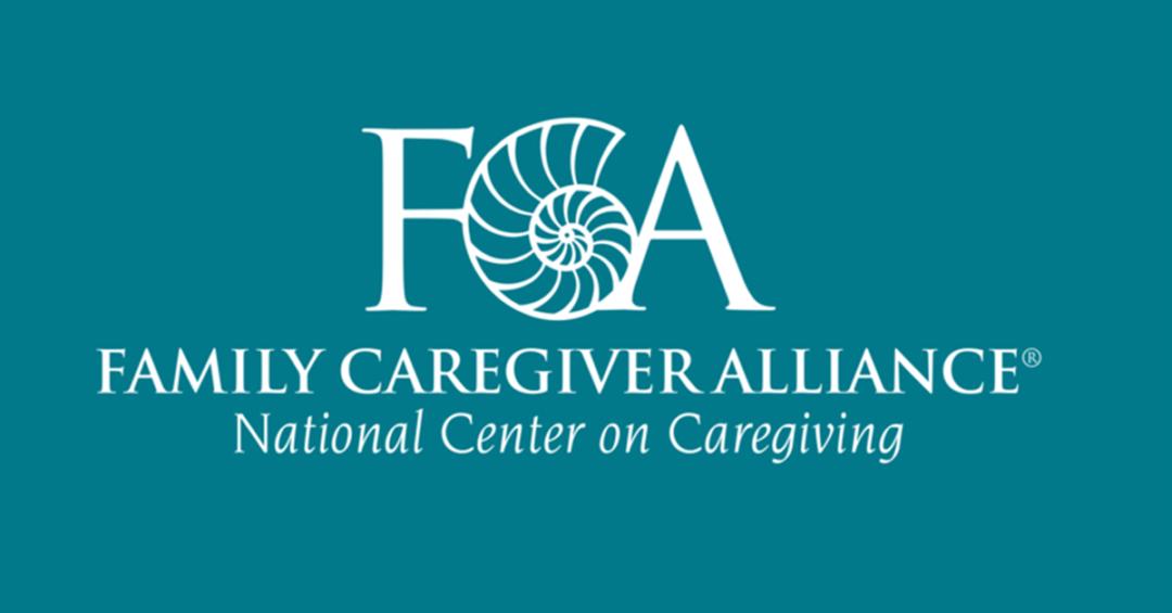 Family Caregiver alliance logo white on blue background