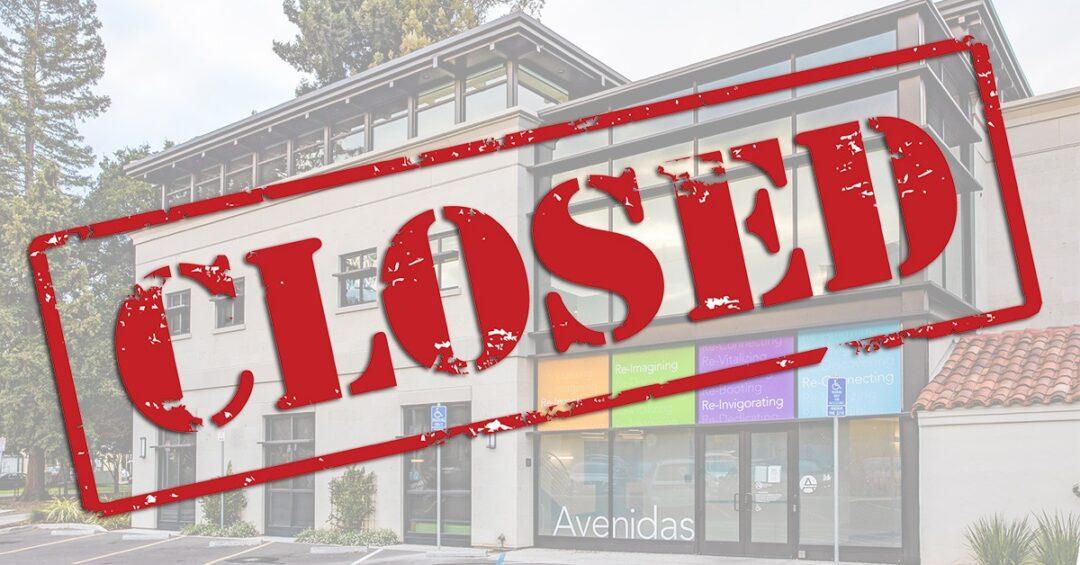 "Avenidas@450 Bryant building with ""Closed"" sign superimposed"
