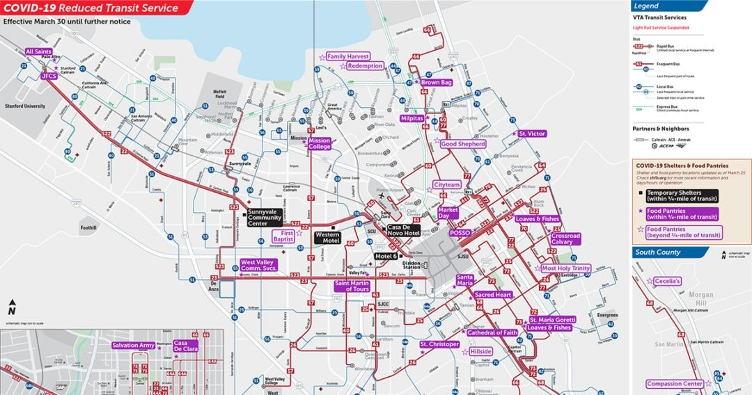 Detail of VTA's routes showing food pantries and shelters