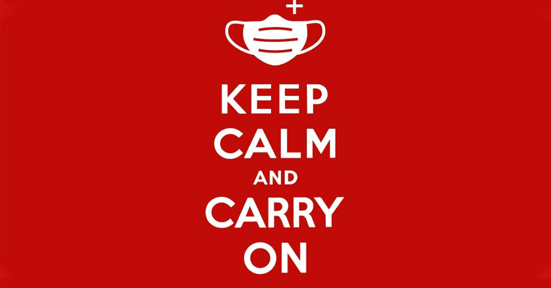 "icon of surgical mask with the words ""Keep calm and carry on"" in white on a red background"