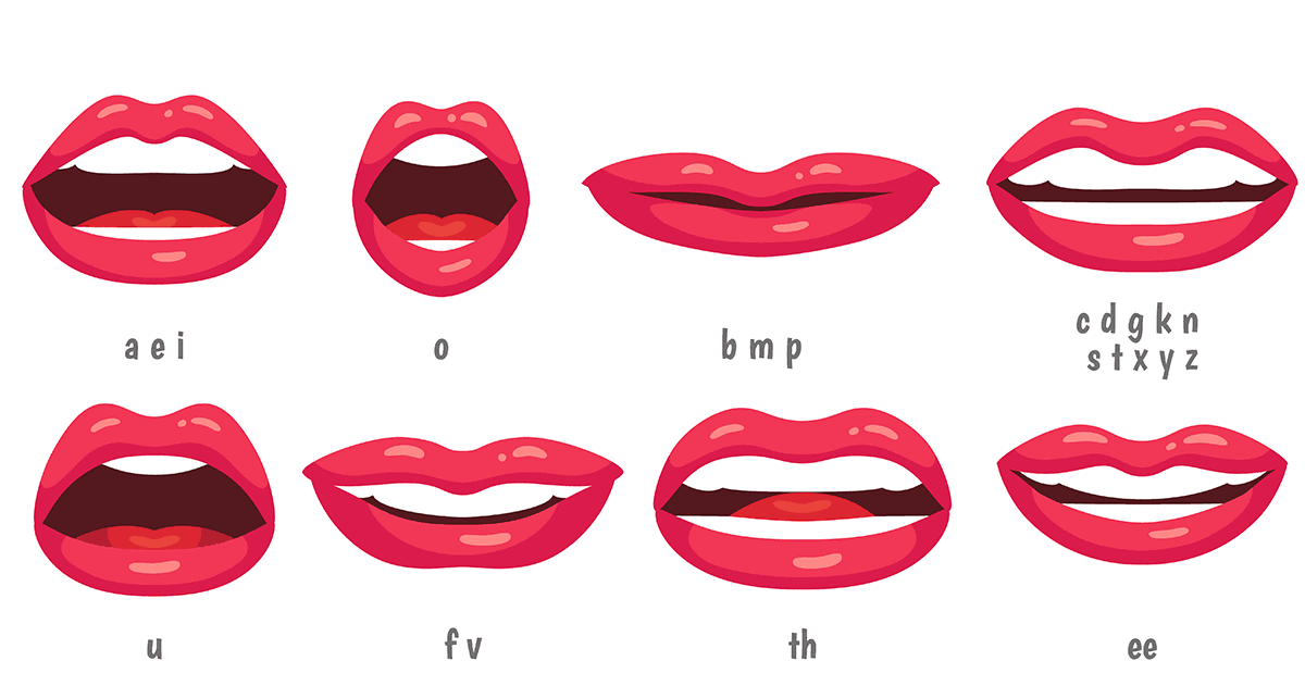 illustration of mouth position for different sounds