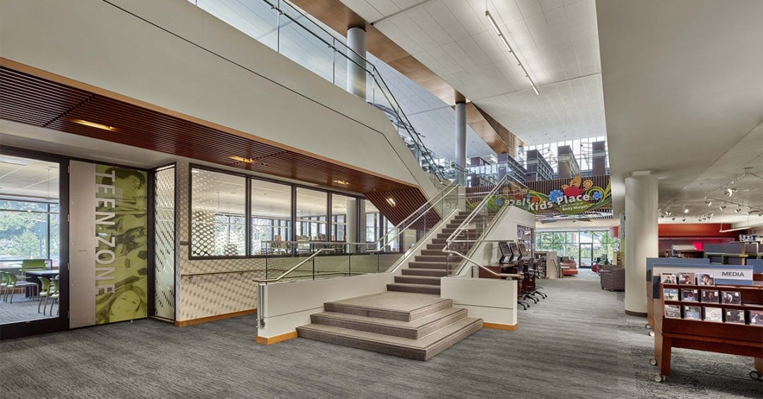 Interior of Mitchell Park Library in Palo Alto