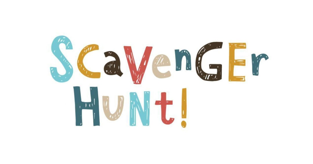 "the words ""scavenger hunt"" written in colorful letters"