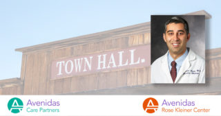 photo of old west style town hall building with photo of Dr. Mehrdad Ayati overlaid