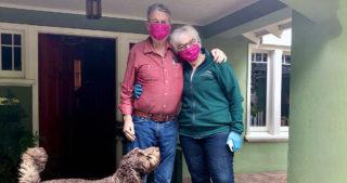 Edgar andGee Gee Williams wearing masks