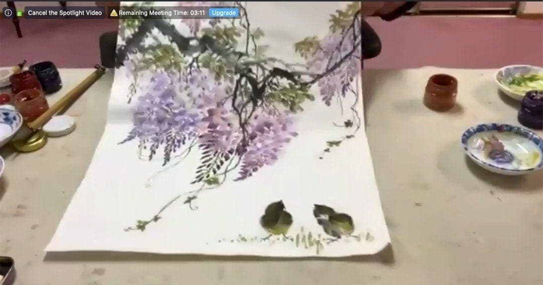 brush painting of wisteria by Andrew Siu
