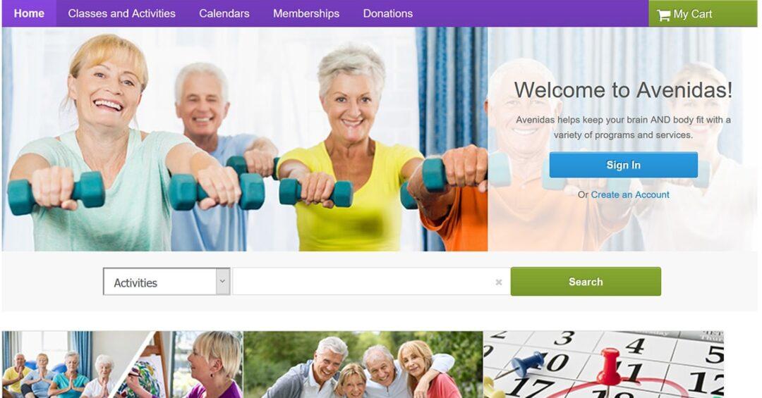 online class registration page for Avenidas