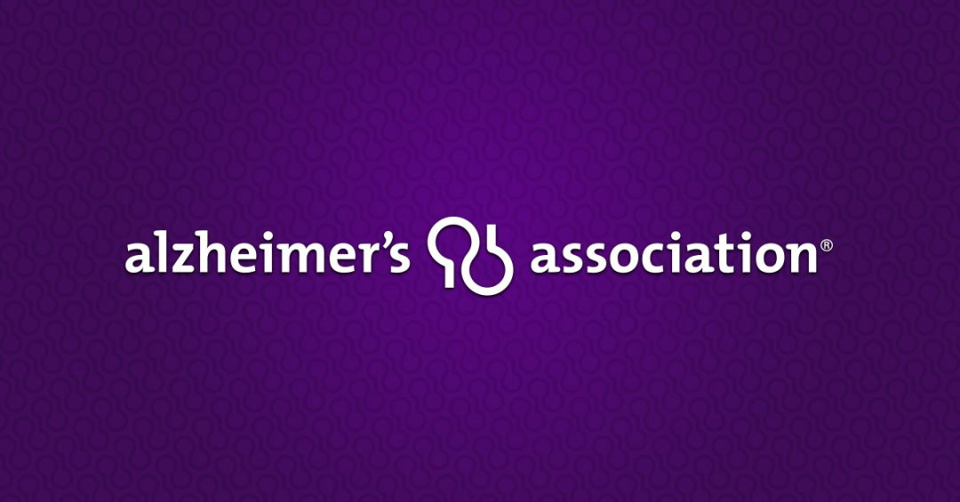 Alzheimer's Association logo in white on purple background