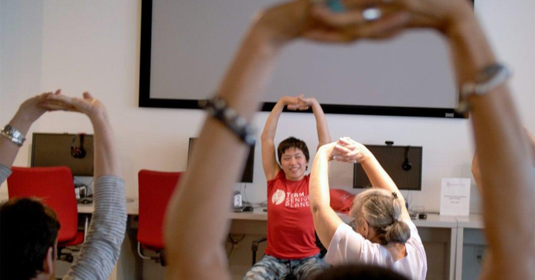 chair yoga class at Senior Planet