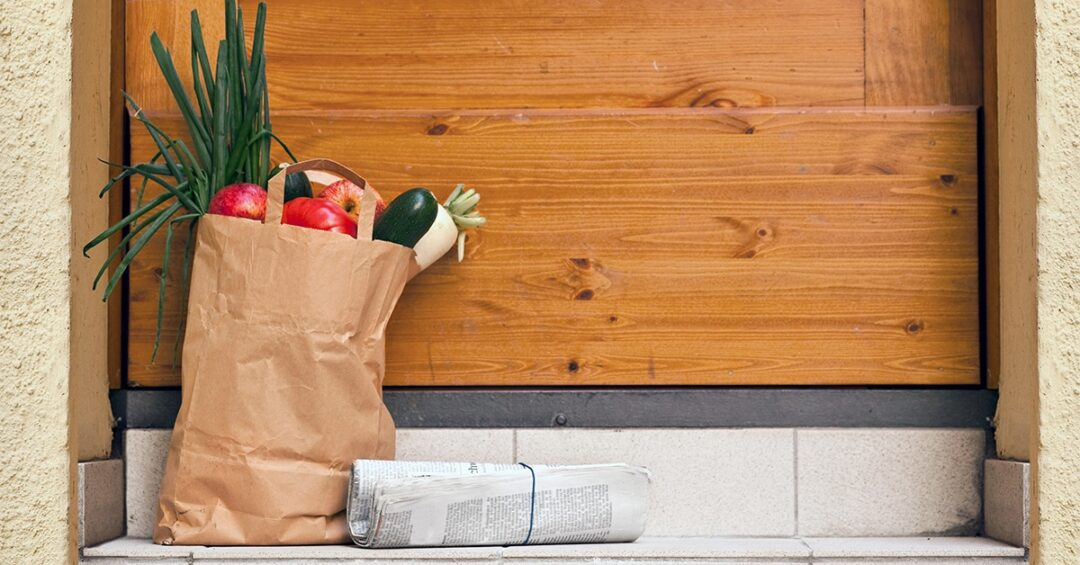 contactless grocery delivery: leave the bag at the door and stand back