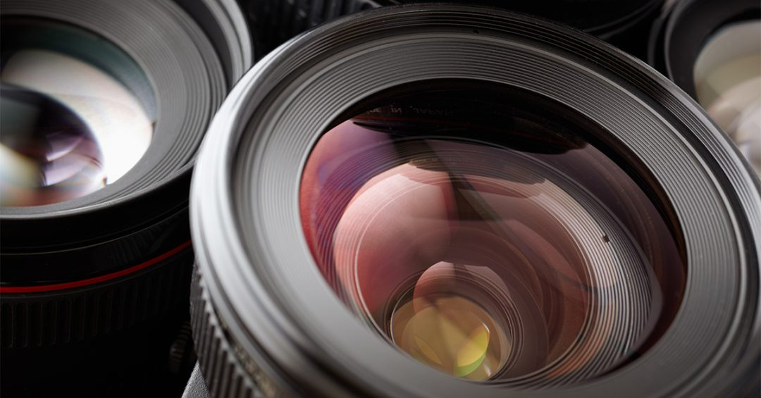 close-up of camera lenses