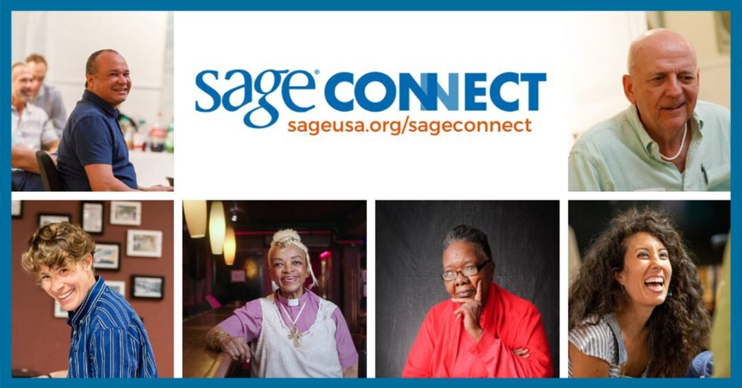 square photos of LGBTQ people with the SAGEConnect logo