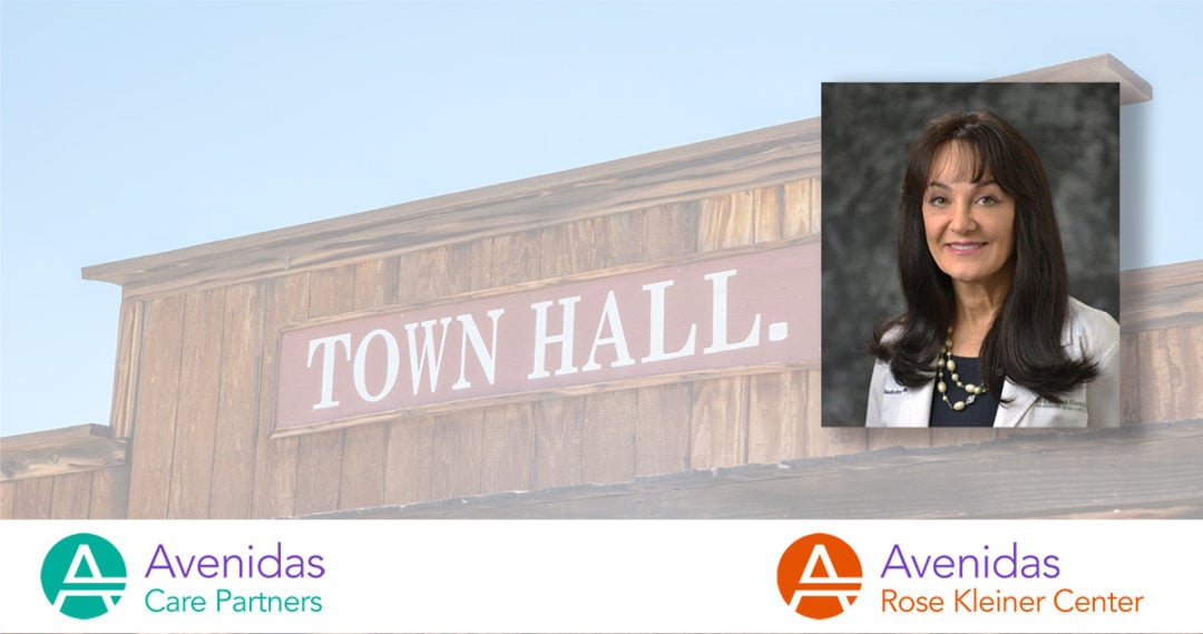 photo of Dr. Nadonly overlaid on photo of old west style town hall