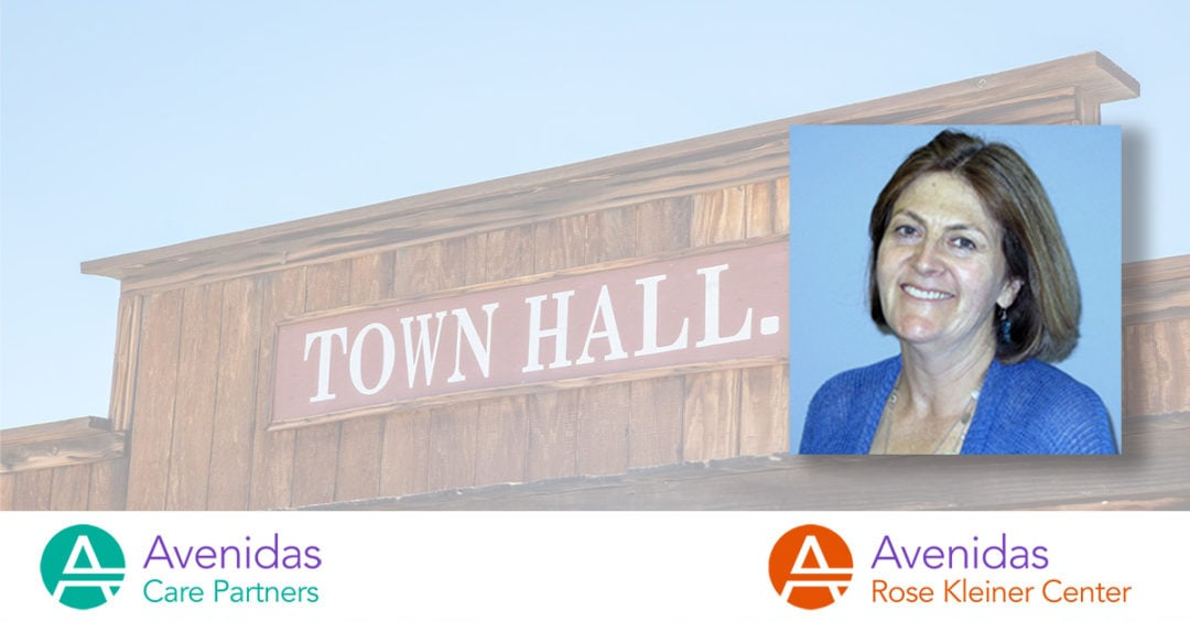town hall building with photo of Dr. Ellen Brown