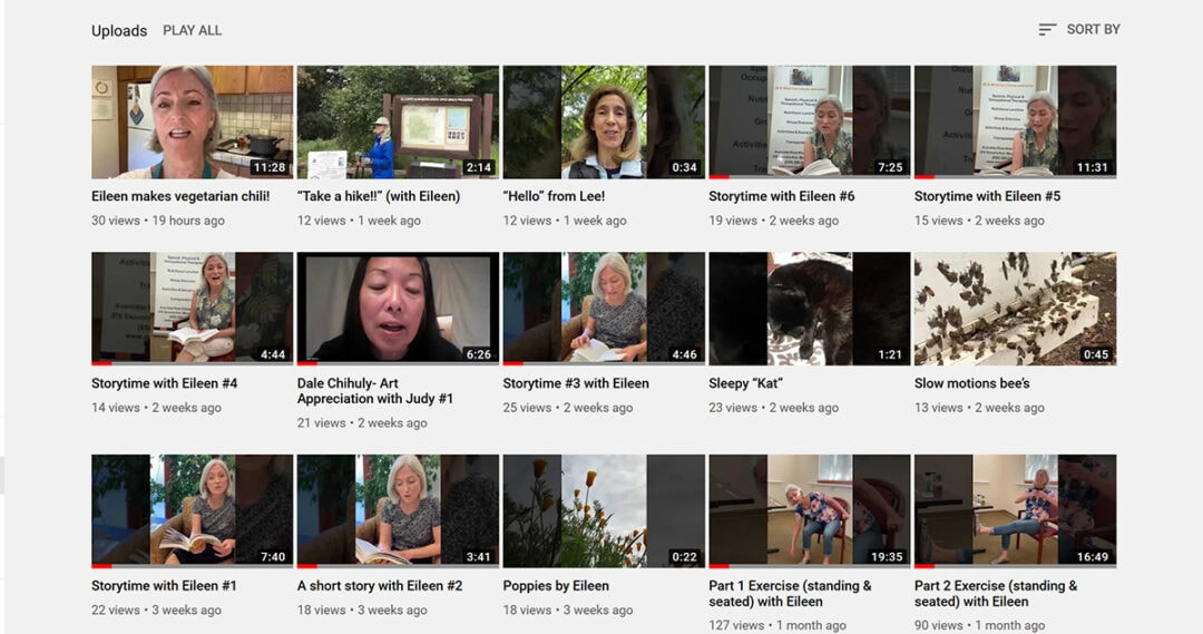 Screenshot showing videos on the Avenidas Rose Kleiner Center YouTube channel