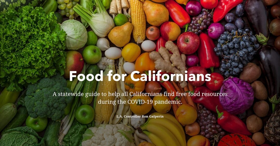 "text: ""Food for Californians"" on a background photo of fresh fruits and vegetables"
