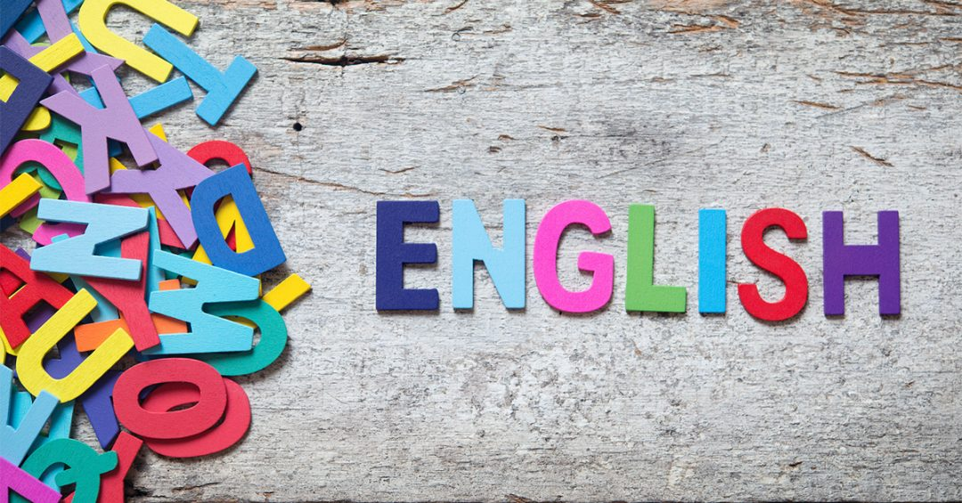 """""""English"""" spelled out in refrigerator magnet letters"""