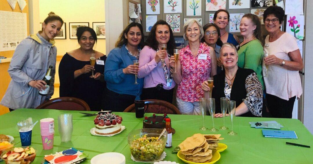 Staff of the Avenidas Rose Kleiner Center enjoying champagne