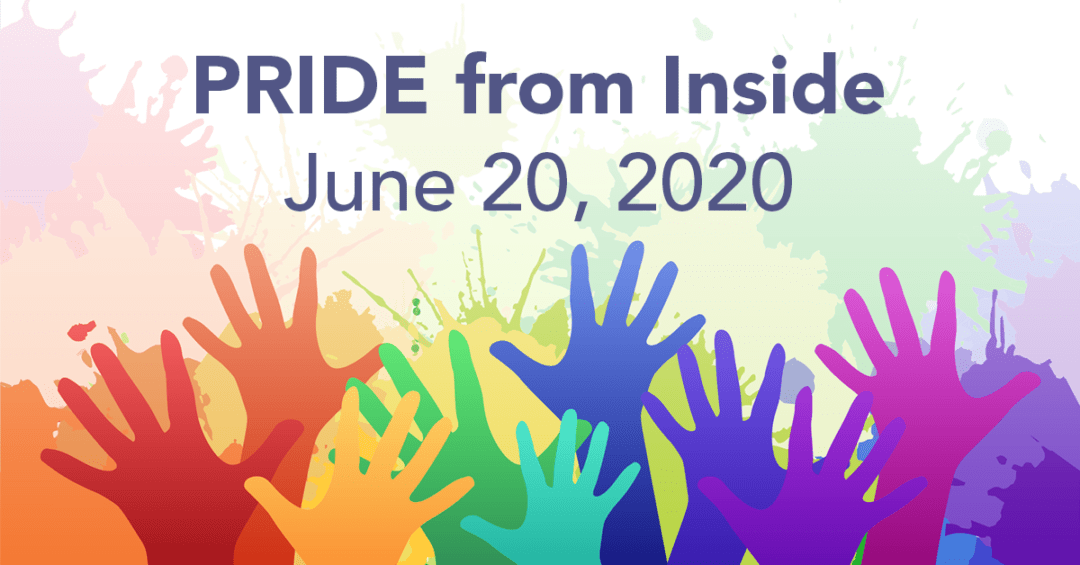 Pride from Inside 2020 with raised rainbow hands
