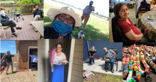 detail of photo collage showing Avenidas Rose Kleiner Center staff with patients