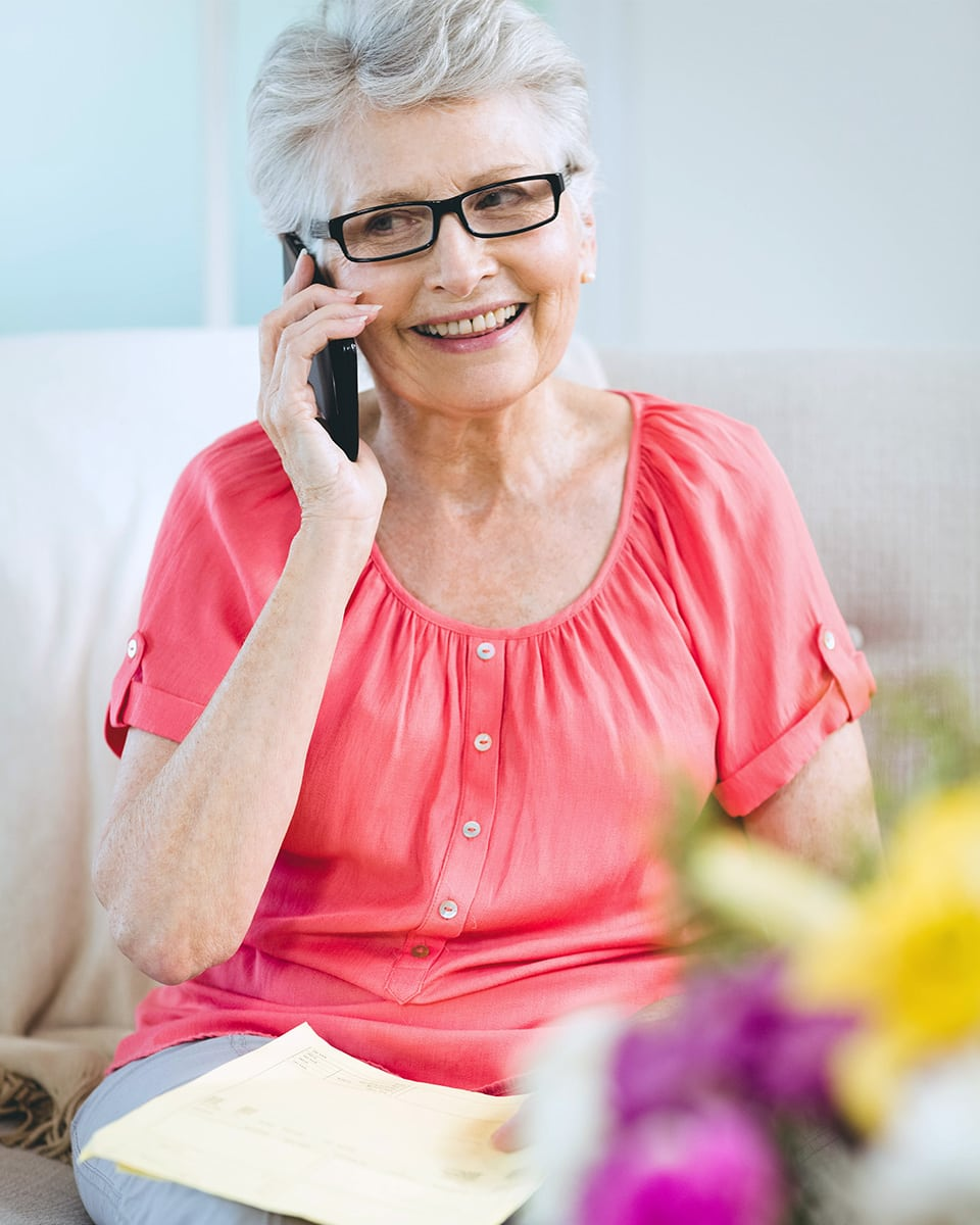 Senior woman having a conversation on her cell phone