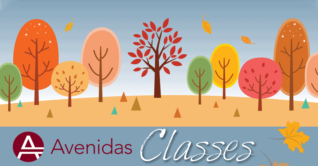 Avenidas Fall 2020 classes illustration (stylized autumn trees)