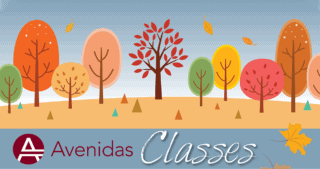 Avenidas Fall 2020 classes illustration (stylized autumn trees)