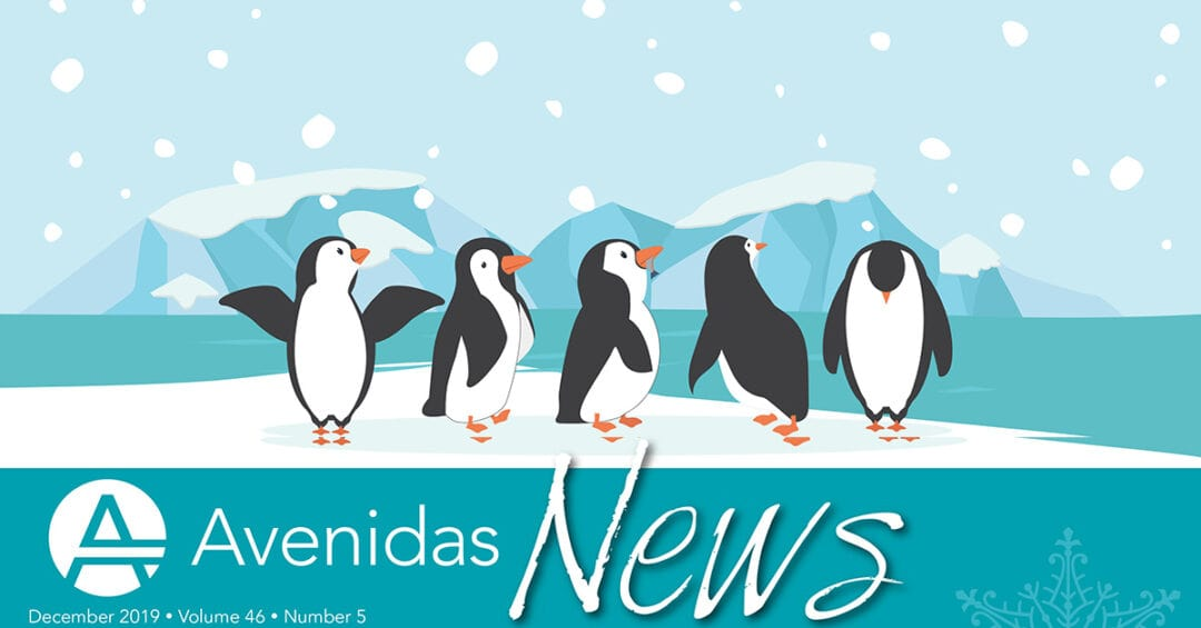illustration: penguins dancing in the snow