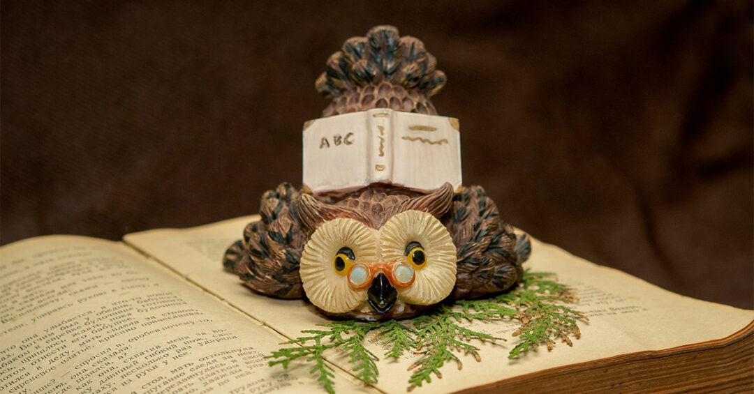 ceramic owl wearing pince-nez glasses on top an open book