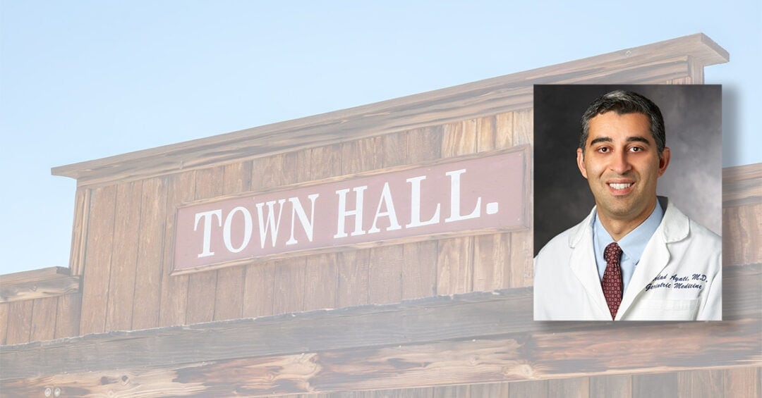 photo of Dr. Mehrdad Ayati overlaid on Wild West style town hall building