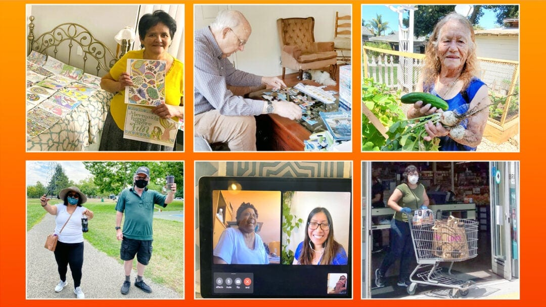 six photos of remote services and activities offered by the Avenidas Rose Kleiner Center