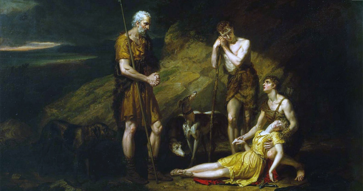 Painting: Imogen Discovered in the Cave of Belarius by George Dawe