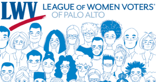 Illustration: people wearing masks, overlaid by League of Women Voters Palo Alto logo