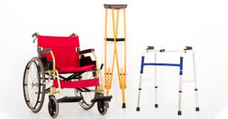 wheelchair, crutches, walker