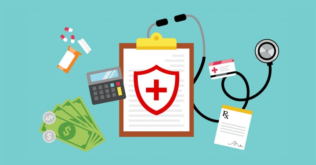 illustration representing medical insurance: clipboard, pills, cash, calculator, insurance card, stethoscope