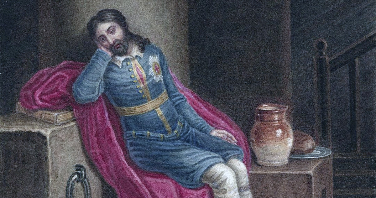 A 19th-century watercolor of Richard II in prison at Pomfret Castle, by J. Coghlan