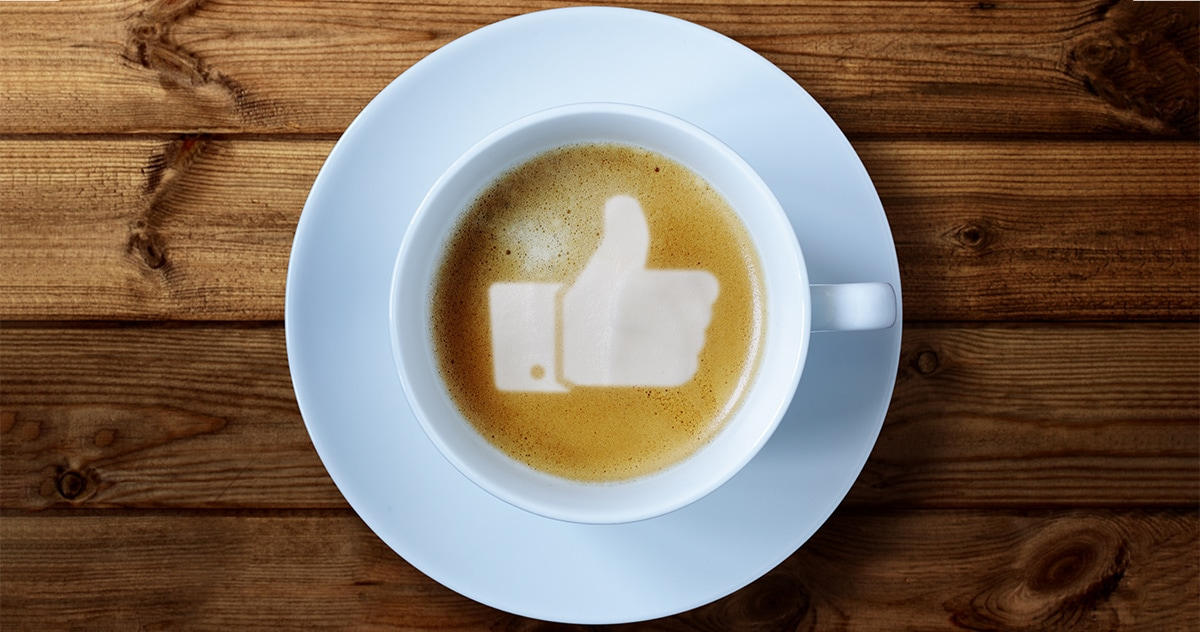 """Facebook """"Like"""" icon created in latte art"""
