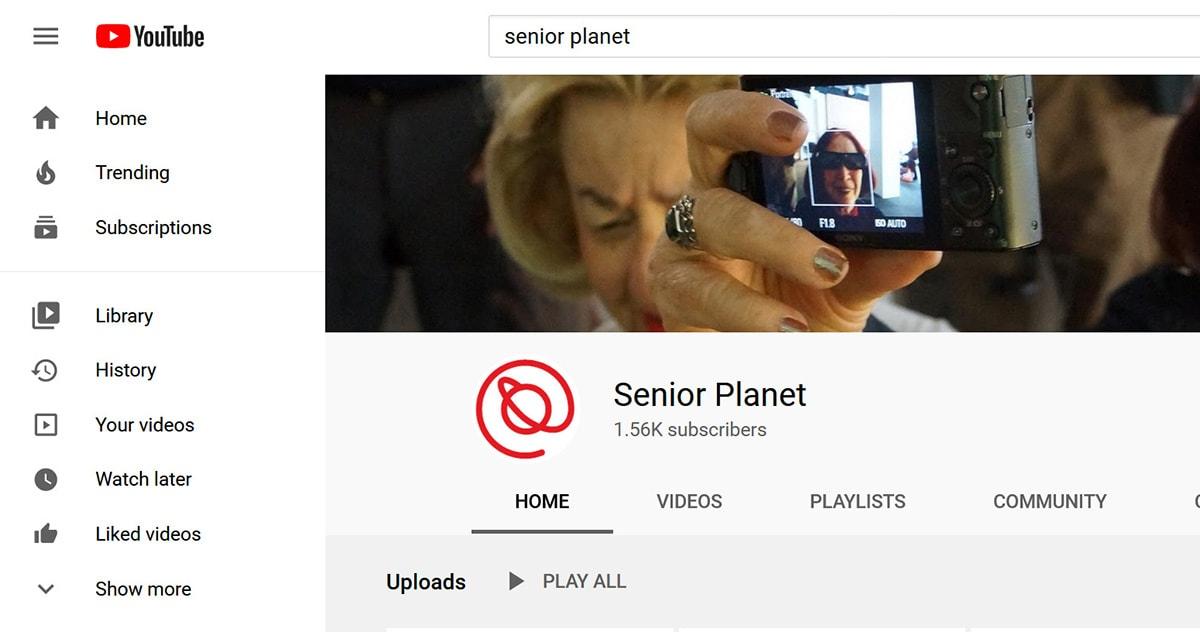 screen shot of Senior Planet's YouTube channel