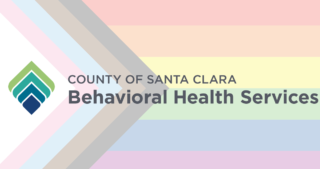 County of Santa Clara Behavioral Health Services logo overlaid on progress-pride flag